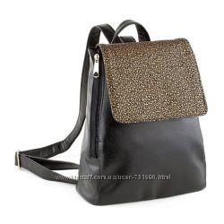 Рюкзак с клапаном черный титан и серебро, золото узор