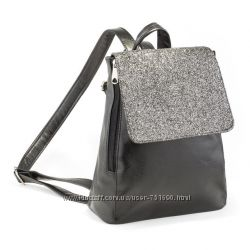 Рюкзак с клапаном, черный титан с глиттером