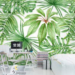 Текстурные фотообои с модным тропическим принтом.