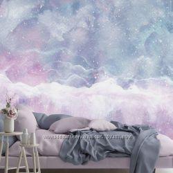 Фотообои с акварельным рисунком облаков.