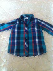 Детская рубашка на мальчика в клеточку на рост - 122 см.