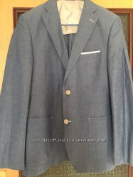 Мужской пиджак офисный светло голубой  JOHN BARRITT Размер 48 рост - 180 см