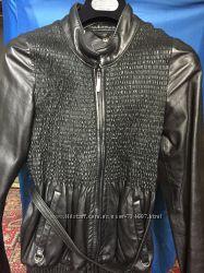 Куртка кожаная, черная,   размер 36,  Италия First olivieri