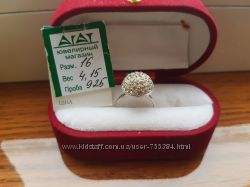 Очень нежное кольцо серебро 925 пробы  камни сваровски, Распродажа