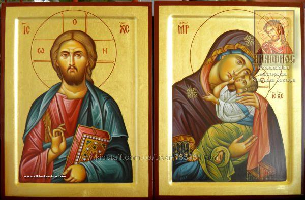 Венчальная пара рукописных икон в греческом стиле на заказ