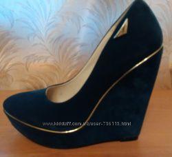 Туфли замшевые серо-синие платформа, танкетка размер 40