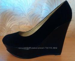 Туфли замшевые черные платформа, танкетка размер 39