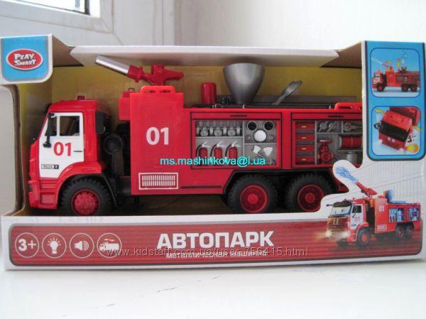 Пожарная машина 9624 брызгает водой Автопарк метал, свет, звук