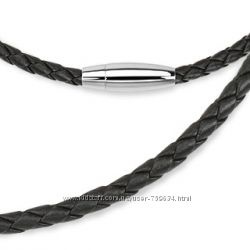 Черный плетеный кожаный шнурок на шею