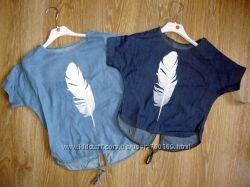 Шикарная джинсовая туничка девочке 4-6-8-10- 12-14, Италия