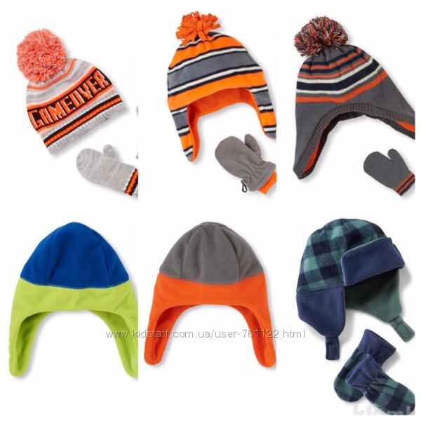 Новые комплекты шапка  варежки Children&acutes place 12-24, M 2T3T oригинал