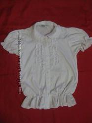 Блузка 152 белая короткий рукав можно в школу