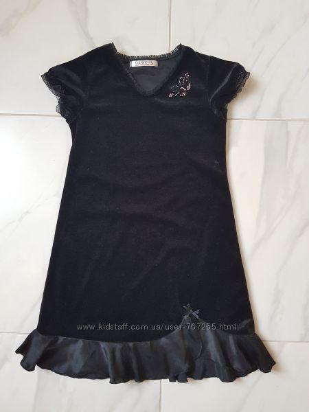 Платье черное велюр   5- 6 лет 110- 116 см