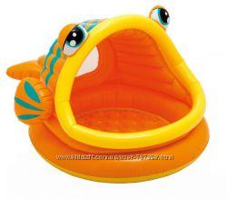 Детский надувной бассейн с навесом рыбка