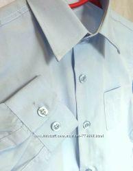 Детская однотонная рубашка светло-голубая