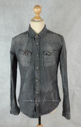 Рубашка джинсовая слим плотная тертая как новая ALLSAINTS luis shirt 44-46р