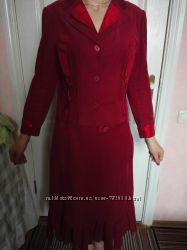 Костюм пиджак юбка 48р. Микровельвет