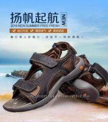 Мужские кожаные сандалии, 43р28, 5см, новые