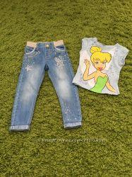 Стильные джинсики F&F, футболка в подарок.