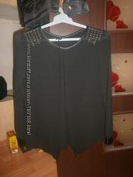 Крутая блуза шифон с кожзамом удлиненный зад 44-46р