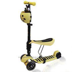 Самокат - беговел 3-х колесный Lotus 3 в 1 с сидением желтый