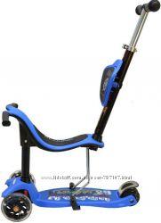 Трехколесный самокат-беговел ONEX 3D PIC - голубой