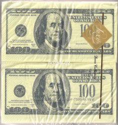 Салфетки бумажные в виде 100 евро, 100 долларов