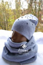 Зимний комплект из трикотажной шапочки и шарфа-снуда
