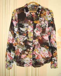 Красивая шифоновая блузочка в цветочный принт