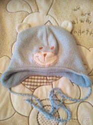 Теплая шапочка мишутка с ушками на флисе на ог 48 50