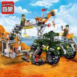 Конструктор BRICK 1712 военная база, танк, фигурки, 396дет