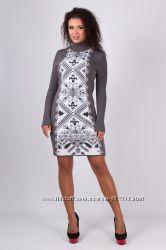 Платье гольф теплое вязаное Вышиванка 44-52 осень зима Качество Выбор