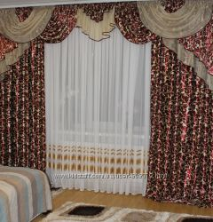 Шторы в зал спальню готовые 243 3, 5м бордовый