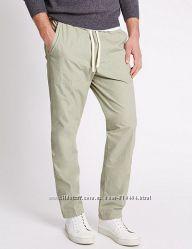 Marks & Spencer комфортные мужские брюки чиносы 100 лен 48р 32W31L