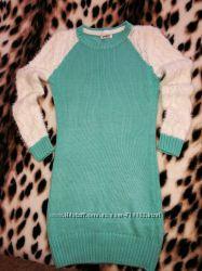 Бирюзовое теплое платье-туника