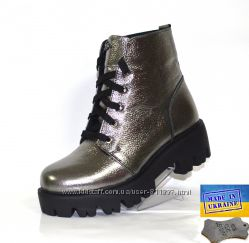 Детские кожаные ботинки. Арт. 261 серебро флотар