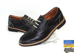 Детские кожаные туфли. Арт. 3929 черный флатар