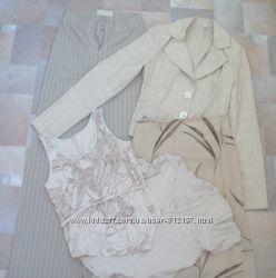 Комплект одежды р. S лето, пиджак, брюки, юбка, футболки