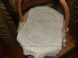пасхальная вязаная салфетка полотенце