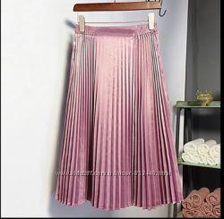 Нежно розовая юбка плиссе  плиссированная юбка на резинке