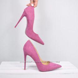 Шикарные вельветовые туфли-лодочки на высоком каблуке розовые 39 р.