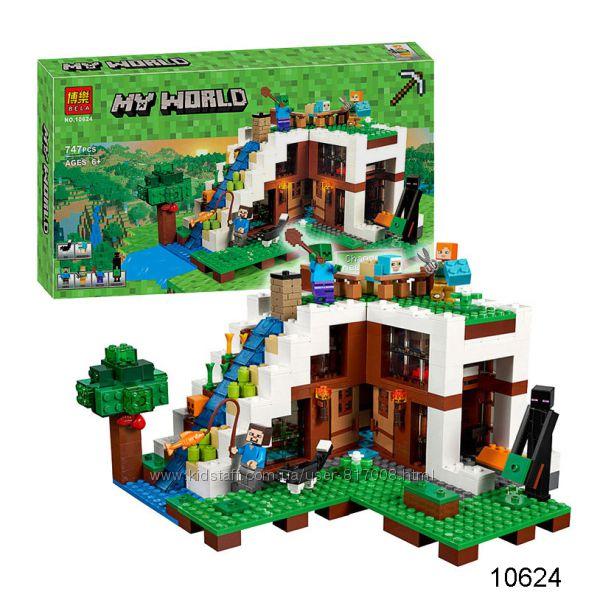 Бела Майнкрафт 10624 конструктор Bela Minecraft My World база на водопаде