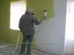 Безвоздушная покраска стен и потолков, ангаров, заборов, фасадов