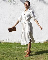Платье-рубашка, оверсайз лен, пляж, жара, натуральный лен, большойстандарт
