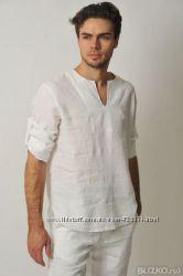 f66711aa699 Натуральная свободная льняная рубашка пляж лето город жара ...
