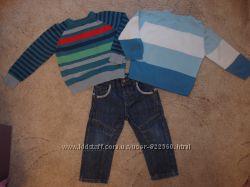 Фирменные джинсы и джемперы комплектом на 18-24 месяцаможно дольше