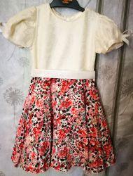 Нарядное платье гипюр верх струящаяся юбка 92