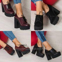 Туфли ботинки из натур кожи и замши Черный и марсала