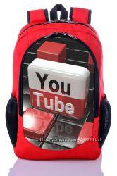 Рюкзак школьный с принтом Ютуб YouTube Фейсбук городской рюкзак купить