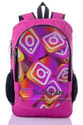 Рюкзак школьный с принтом Инстаграм твиттерхештег городской